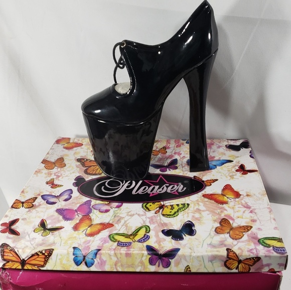 c2df21b883 Pleaser Shoes | Nwt Black Patent Heeled Platforms Size 6 | Poshmark